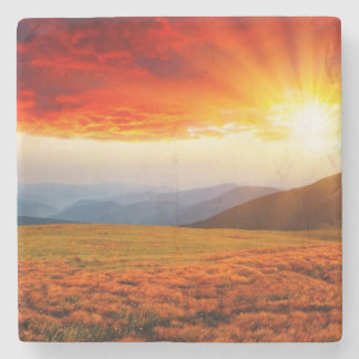 Majestic sunset in the mountains landscape 5 stone coaster