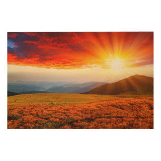 Majestic sunset in the mountains landscape 5 wood wall art