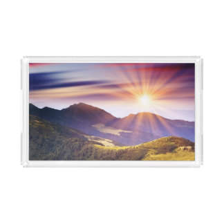Majestic sunset in the mountains landscape 6 acrylic tray