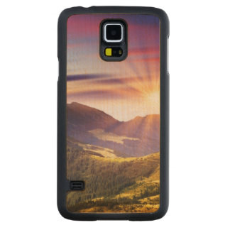Majestic sunset in the mountains landscape 6 carved maple galaxy s5 case