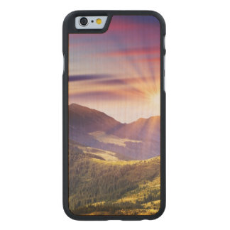 Majestic sunset in the mountains landscape 6 carved® maple iPhone 6 case