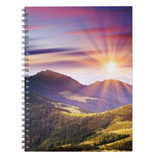 Majestic sunset in the mountains landscape 6 note books