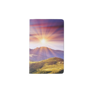 Majestic sunset in the mountains landscape 6 pocket moleskine notebook