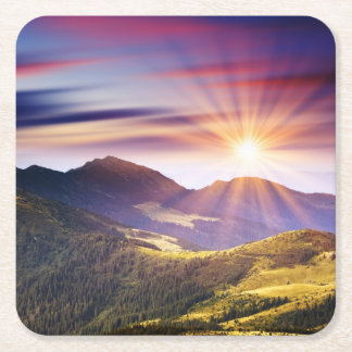 Majestic sunset in the mountains landscape 6 square paper coaster