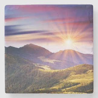 Majestic sunset in the mountains landscape 6 stone coaster