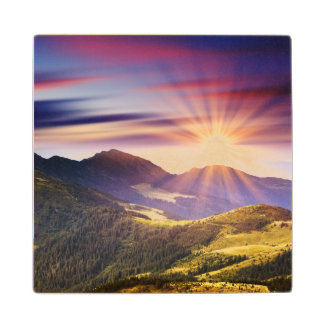 Majestic sunset in the mountains landscape 6 wood coaster