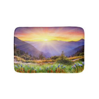 Majestic sunset in the mountains landscape bath mat