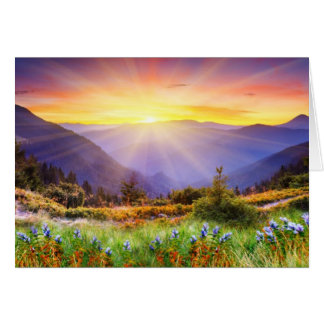 Majestic sunset in the mountains landscape card