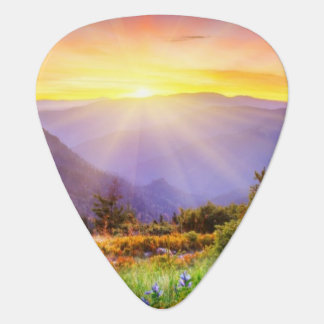 Majestic sunset in the mountains landscape guitar pick