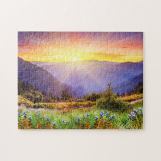 Majestic sunset in the mountains landscape jigsaw puzzle
