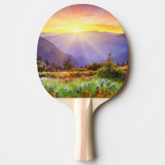 Majestic sunset in the mountains landscape ping pong paddle