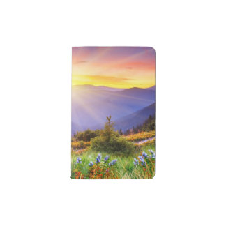 Majestic sunset in the mountains landscape pocket moleskine notebook