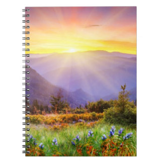 Majestic sunset in the mountains landscape spiral notebook