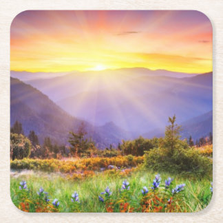 Majestic sunset in the mountains landscape square paper coaster