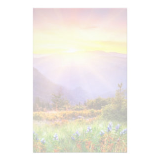 Majestic sunset in the mountains landscape stationery