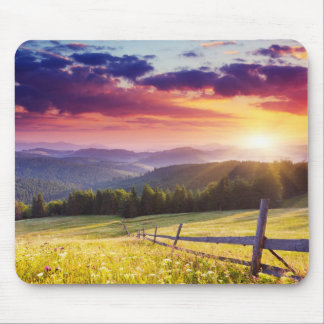 Majestic sunset in the mountains mouse mat