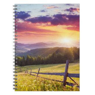 Majestic sunset in the mountains notebook