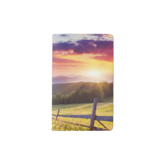 Majestic sunset in the mountains pocket moleskine notebook