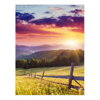 Majestic sunset in the mountains postcard