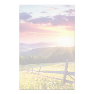 Majestic sunset in the mountains stationery