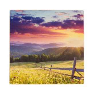 Majestic sunset in the mountains wood coaster