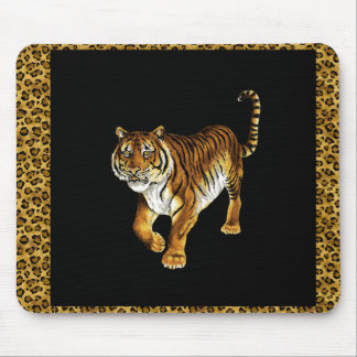 Majestic TIGER with Animal Skin Border Mouse Pad