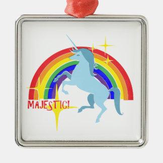 Majestic Unicorn Vintage 80's Style Silver-Colored Square Decoration