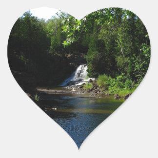 Majestic Waterfall at Gooseberry Falls - Nature Heart Sticker
