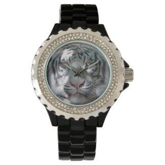 Majestic White Tiger Closeup Wrist Watches
