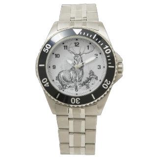 Majestic Whitetail Deer Illustration Wrist Watches