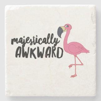 Majestically Awkward Flamingo Marble Stone Coaster