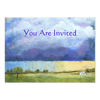 "Majesty Abstract Art Landscape House Painting 4.5"" X 6.25"" Invitation Card"