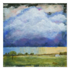 Majesty Abstract Art Landscape House Painting Poster