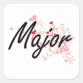 Major Artistic Job Design with Hearts Square Sticker
