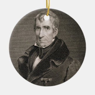 Major General William Henry Harrison, engraved by Christmas Ornament