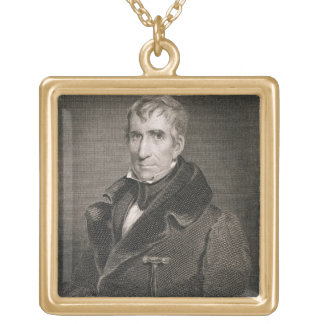Major General William Henry Harrison, engraved by Square Pendant Necklace