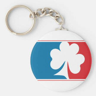 Major League Shamrock - Blue and Red Basic Round Button Key Ring
