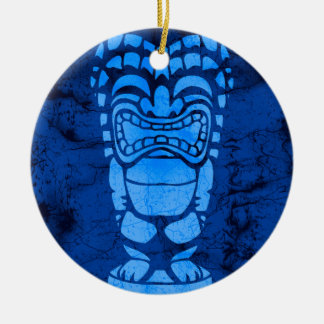 Makapuu Beach Hawaiian Laughing Tiki Batik Christmas Ornaments