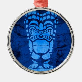 Makapuu Beach Hawaiian Laughing Tiki Batik Silver-Colored Round Decoration