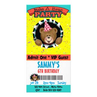 Make a Bear Party Invitation Photo Card