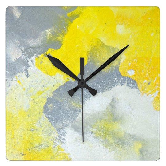 'Make A Mess' Grey and Yellow Abstract Art
