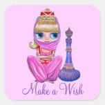 Make a Wish Little Pink Genie Girl Magic Bottle Sticker