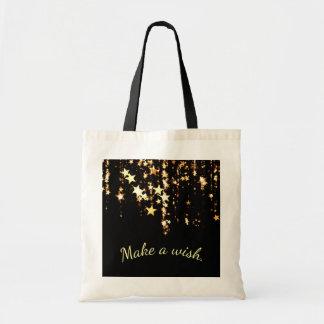 Make a Wish on Falling Gold Stars on Black Tote Bag