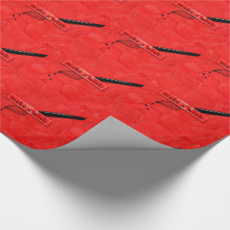 Make a Wish Orange Red Artist's Paintbrush Theme Wrapping Paper