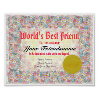Make a World s Best Friend Certificate Print