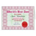 Make a World's Best Aunt Certificate Award Card