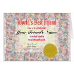 Make a World's Best Friend Certificate