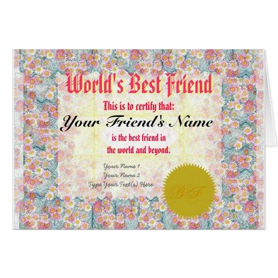 Make a World's Best Friend Certificate Card
