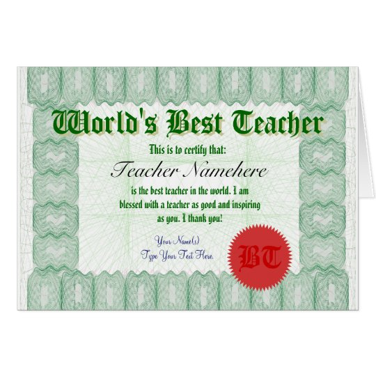 Make a World's Best Teacher Certificate Award Card