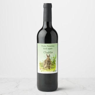 Make America Kind Again Bunny Rabbit Wine Label